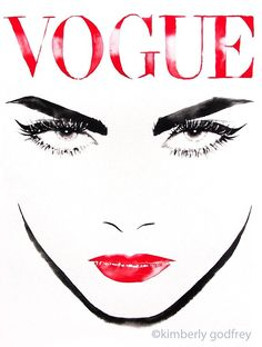 Vogue Original Watercolour Painting Black Ink Fashion Illustration Salon Decor Runway Model Red Lipstick. Just a little reminder: Airmail from England to the USA usually only takes one to three weeks to arrive - not the four to six weeks Amazon states as the shipping time. My original watercolor portrait from my Fashion series. Painting measures approx 16 x 24 inches on Arches watercolour paper. Direct from my studio in Suffolk, England, signed & dated. Watermark will not be on the art....