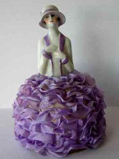 "Antique Flapper China Half Doll, Powder Box, 5.2"", Mint"