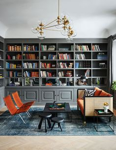 37 Lovely Classic Monochrome Interior Design Ideas - Are you all set to launch your home remodeling project? Break out of the white, off-white, and beige, and let some color in your life. Home Library Rooms, Home Library Design, Home Libraries, Home Office Design, Interior Design Living Room, House Design, Interior Decorating, Decorating Ideas, Living Room Grey