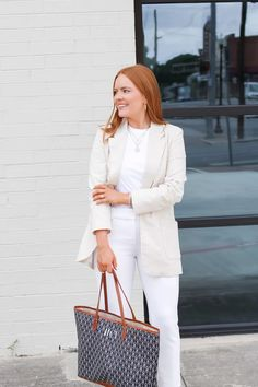 White Casual Summer Workwear - Oh What A Sight To See Barrington Gifts, Summer Work Wear, Cute Blouses, Linen Blazer, White Casual, White Pants, Work Pants, Casual Summer, Workwear