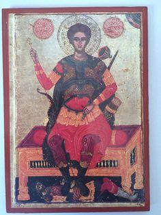 Saint Demetrios -handmade Greek orthodox Russian byzantine icon on wood Byzantine Icons, Christianity, Saints, Religion, Greek, Spirituality, Wood, Handmade, Painting