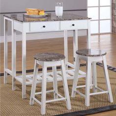 Marble Veneer-top 3-piece Breakfast Pub Set - 16404081 - Overstock - Big Discounts on K and B Furniture Co Inc Pub Sets - Mobile