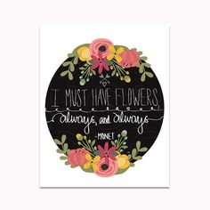 Monet Quote Print Quote Floral Wreath Wall by GraceHarveyGraphics, $4.99