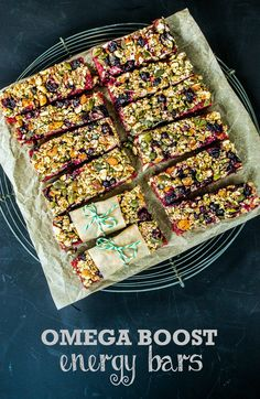 These Omega Boost Beetroot & Blackcurrant Energy Bars are packed with vitamins, minerals and omega oils - perfect for vegetarians or vegans. Raw Food Recipes, Brunch Recipes, Veggie Recipes, Vegetarian Recipes, Cooking Recipes, Healthy Recipes, Blender Recipes, Free Recipes, Vegan Snacks