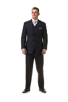Navy 3 piece lounge suit with pale pink tie and pocket square - http://formallyyours.co.uk/  #wedding #suit #tailoring