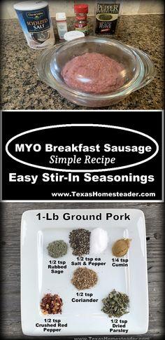 Breakfast Sausage Seasoning, Homemade Breakfast Sausage, Breakfast Meat, Home Made Sausage, How To Grill Steak, Fermented Foods, Real Food Recipes, Stuffed Peppers, Frugal Living