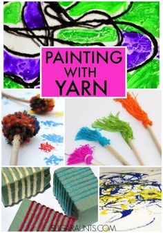 Yarn painting art for kids