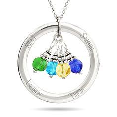 Mom's Circle Birthstone Pendant - Engrave & Choose unique Birthstones! Easily engrave 4 names on the pendant, pick 4 birthstones.