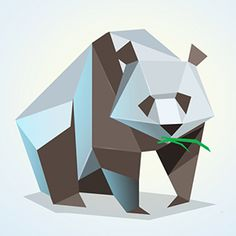 Vector polygonal illustration of panda, low poly style  — Stock Vector #124261512