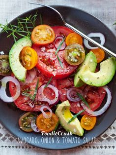 Tomato and Avocado Salad is one of my simplest salads, and the best tasting at foodiecrush.com #recipe #salad