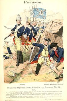 Knötel-Tafel Пруссия. Пехотный полк принца Генриха Прусского. 1757th