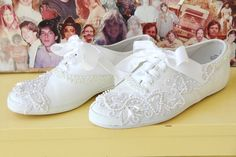 bedazzled with lace, sequins and white ribbon laces have some minor wear, visible in photos US size women's AUS UK EUR bonypony Wedding Sneakers, Wedding Shoes, White Tennis Shoes, Decorated Shoes, Wedding Hair And Makeup, Bridal Jewellery, Wedding Tips, Boho Style, Boho Fashion