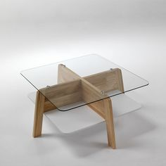 Square solid wood & glass coffee table Warm by Tomasucci