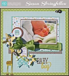 Baby Boy Layout from Bundle of Joy Boy Collection. #echoparkpaper