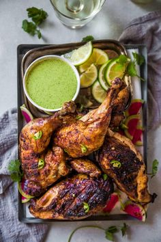 This Peruvian Grilled Chicken is packed with flavor and served with a creamy green sauce. Add some international flair to your barbecue with this chicken recipe and a bottle of Portuguese Vinho Verde to pair. Grilled Steak Recipes, Grilled Meat, Grilling Recipes, Cooking Recipes, Healthy Recipes, Vegetarian Grilling, Marinated Pork, Grilled Chicken Sides, Grilled Steaks