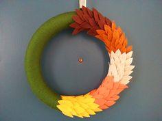 Fall Olive Green Yarn Wreath with Hand Cut Felt Leaves