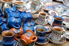 Photo about Traditional romanian pottery (Corund jugs) suitable to use as a background. Image of food, arts, decanter - 17945369 Types Of Ceramics, Handicraft, Tea Cups, Pottery, Pure Products, Traditional, Mugs, Tableware, Royalty