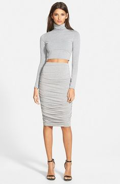 Missguided Ruched Seam Midi Skirt | Nordstrom