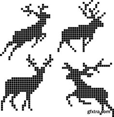 Vector Pixel Silhouettes Of Deers Royalty Free Cliparts, Vectors, And Stock Illustration. Image Silhouettes Of Deers Royalty Free Cliparts, Vectors, And Stock Illustration. Cross Stitch Charts, Cross Stitch Designs, Cross Stitch Patterns, Stitch Crochet, Filet Crochet, Loom Beading, Beading Patterns, Cross Stitching, Cross Stitch Embroidery