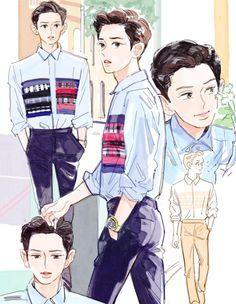 2019 Chanyeol birthday art by langmanpanda on FanBook Park Chanyeol, Baekhyun, Chibi, Exo Anime, Exo Fan Art, Kpop Fanart, Chanbaek Fanart, Exo Members, K Idols