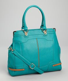 Take a look at this Turquoise & Brown Satchel by Segolene Paris on #zulily today!