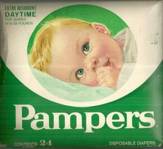 vintage pampers box | Box Of 24 Vintage Pampers Disposable Diapers 16-23 Pounds Daytime Baby