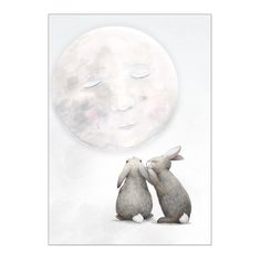 """Moon Rabbits - """"Let's Go on an adventure!"""" This gorgeous, calming, watercolour and pencil print looks beautiful on its own or paired with the Swan"""