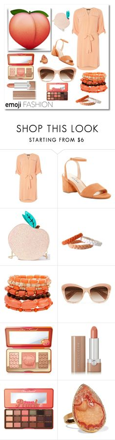 """""""Emoji Fashion- Peach Emoji"""" by jessica-marks ❤ liked on Polyvore featuring Dorothy Perkins, Charles David, Skinnydip, Oliver Peoples, Too Faced Cosmetics, Marc Jacobs, Dara Ettinger, peach, polyvorecommunity and polyvorecontest"""