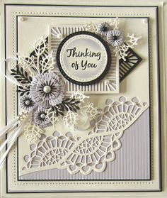 Hi crafters!  Today's offering is a diagonal Gemini die border card using wisteria, white and black card.  I started by cutting the diagonal border in coconut white card using the Cepheus Gemini die.