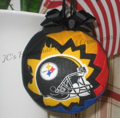 PITTSBURGH STEELERS Ornament Made From Steelers Cotton Fabric. Handmade Quilted Ornament. Steelers Colors, Collectors Ornament, Dated Charm - pinned by pin4etsy.com