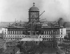 Missouri's third capitol building in Jefferson City, under construction in 1915, was built on the site of the one that burned in 1911 and was paid for through a $3.5 million bond issue that state voters overwhelmingly adopted only six month after the fire. It was completed in 1917. The dome, 262 feet high, was built of a steel frame and covered by limestone from Carthage, Mo., as is the rest of the exterior. (St. Louis Post-Dispatch)