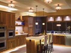 Contemporary Kitchen Design Ideas With Country Kitchen Lighting Fixtures Modern Kitchen Lighting, Kitchen Island Lighting, Kitchen Lighting Fixtures, Home Lighting, Light Fixtures, Ceiling Lighting, Lighting Ideas, Strip Lighting, Task Lighting