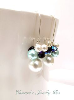 Wedding Earrings, Beaded Pearl Drop Earrings, Ivory, Black and Tiffany Blue, Bridal Earrings, Bridesmaid Gift. $15.00, via Etsy.