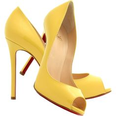 Christian Louboutin banana yellow patent leather peep toe pumps and other apparel, accessories and trends. Browse and shop 8 related looks. Peep Toe Shoes, Pumps Heels, Women's Shoes, Me Too Shoes, High Heels, Patent Shoes, Yellow Pumps, Christian Louboutin Heels, Louboutin Pumps
