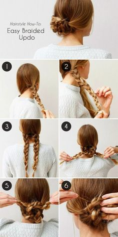 Unique braided updo for medium / long hair tutorial Unique. - Unique braided updo for medium / long hair tutorial Unique braided updo for m - Easy To Do Hairstyles, Braided Hairstyles Tutorials, Up Hairstyles, Pretty Hairstyles, Braid Tutorials, Hairstyle Ideas, Step Hairstyle, Wedding Hairstyles, Popular Hairstyles