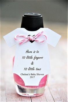 Here is to 10 little fingers & 10 little toes ~ Mani Gift ~ Nail Polish Baby Shower Party Favor ~ Personalized Tag ~ Baby Shower Onesie Thank You Gift Tags ~www.KendollMade.com by kayla