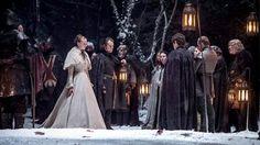Sophie Turner as Sansa Stark, Alfie Allen as Theon Greyjoy, Iwan Rheon as Ramsay Bolton, Michael McElhatton as Roose Bolton and Elizabeth Webster as Walda Bolton (Season 5, episode 6: Unbowed, Unbent, Unbroken)