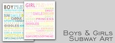 Maybe for a boy/girl room? Free printable subway art.