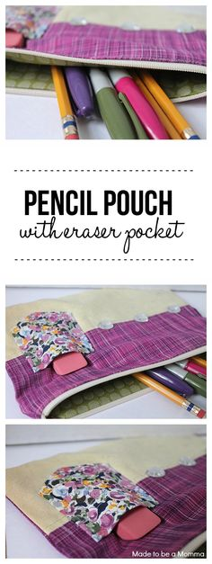 Help keep desk clutter down this back-to-school season with a fun and convenient pencil pouch with eraser holder. How cool?