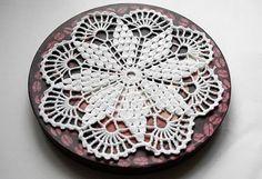 Crochet doily white doily small doily handmade lace by Edangra, $8.00