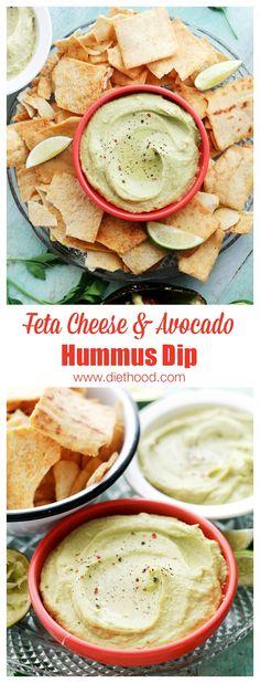 Feta Cheese and Avocado Hummus Dip   www.diethood.com   Chickpeas blended with feta cheese and avocado.   #recipe #hummus #appetizers #avocado