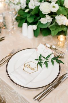Gorgeous wedding reception place setting with a white floral centerpiece and candles - perfect sweetheart table idea August Wedding, Our Wedding, Wedding Reception, Dream Wedding, Wedding Ideas, Floral Wedding, Wedding Colors, White Floral Centerpieces, Southern Bride