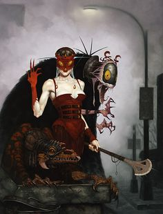 Artwork: Red Hand by fantasy artist Gerald Brom. See more artwork by this featured artist on the fantasy gallery website. Dark Fantasy, Gothic Fantasy Art, Gothic Fairy, Fantasy Women, Illustrations, Illustration Art, Denis Zilber, Science Fiction, Comics Vintage