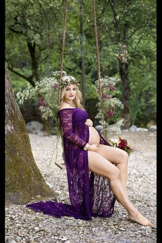 Purple lace maternity gown with lace layered by designbycboutique