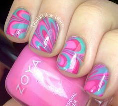 I then then used Zoya Shelby with Zoya Lara, a medium pink creme, and ZoyaWednesday, a soft teal creme for my water marble. I finished with one coat of SV.