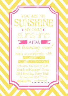 sunshine and lemonade birthday party invitation 1200 via etsy