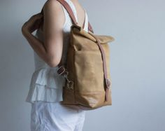 Waxed canvas backpack Canvas backpack Diaper by MOOIStudio on Etsy