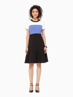 On trend :Violet Verbena colored dress! colorblock crepe flip dress - Kate Spade New York Dresses For Work, Dresses With Sleeves, Purple Hues, Colourful Outfits, Fit And Flare, Color Blocking, Style Me, Kate Spade, Ballet Skirt