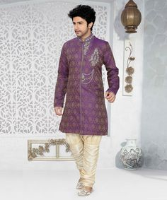Look sensationally awesome in this Purple & Golden Sherwani on Brocade with Matching Pajami. Shop here: #styleindia http://styleindia.com.au/on-sale/purple-and-golden-sherwani-brocade-matching-pajami.html