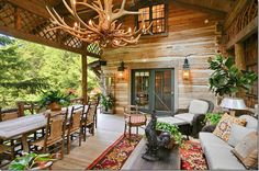Lovely outdoor space with antler chandelier